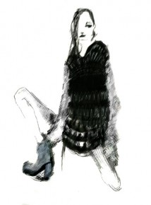 Illustration by Johanna Härkönen of a knit called Veera. knits available now at Hel Store, Designcenter De Winkelhaak in Antwerp.