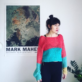 gold stitch water melon sweater